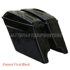 "2014 NEW VIVID 4.5"" HD STRETCHED HARD SADDLEBAGS EXTENDED HARLEY SADDLE BAGS"
