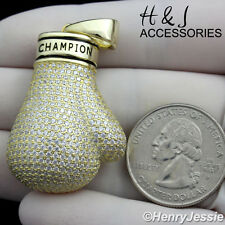 925 STERLING SILVER ICED BLING CHAMPION BOXING GLOVE GOLD CHARM PENDANT*GP140