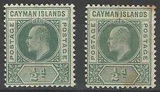 CAYMAN ISL KEV11 1902-03 1/2d PAIR MINT