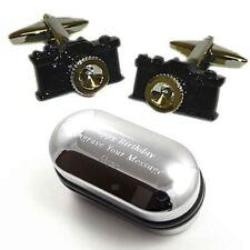 Gemelli fotocamera nero, ideale regalo di nozze fotografo & inciso scatola regalo