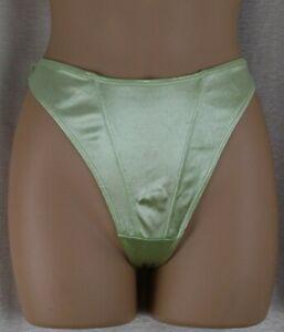 Vintage Lime Green Satin Thong Panties Size M
