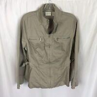 Chicos Size 2 Khaki Jacket Full Zip Beige Long Sleeve Womens Size Large