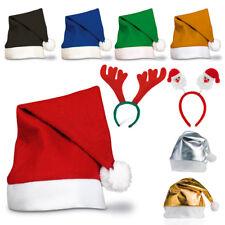 Christmas Santa Hats - Adult Unisex - Fancy Dress - Red, Blue, Orange, Green