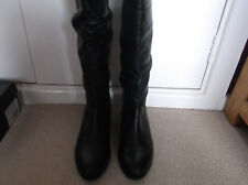 Black Leather DUNE High Leg Boots - Size 6 / 39