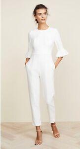 Shopbop Black halo Brooklyn Bell Sleeve White Jumpsuit $375 Size 0