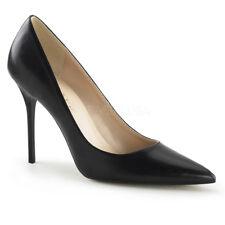 Pleaser CLASSIQUE-20 Women's Black Kid Pu High Heels Pointed Toe Slip On Pumps