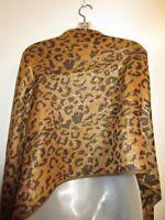Scarf Wrap Shawl Leopard Printed Black Brown Reversible Metallic Gold Shiny CHIC