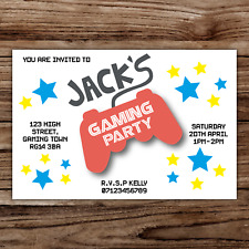10 *PERSONALISED* invitations GAMING video GAMES party BIRTHDAY invites