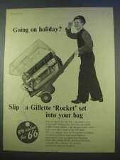 1955 Conjunto de cohete de afeitar de Gillette ad -? te vas de vacaciones?