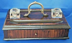 Antique Vintage Rosewood & Brass Desk Tidy Glass Inkwell Stand Drawer 2 Inkwells