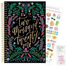 2021 Folky Floral Calendar Year Daily Planner Agenda 12 Month January - December