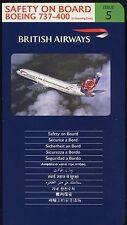 BRITISH AIRWAYS Boeing 737 - 400 airline SAFETY CARD ISSUE 5 sc713 ax