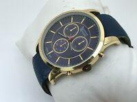 American Exchange Men Watch Gold Tone Case Blue Band Analog Wrist Watch