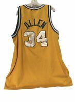 Seattle Sonics #34 Ray Allen Yellow Jersey Men's 3XL NBA Nike Length +2