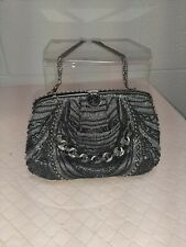 Vintage HashimotoBlack and Silver Beaded & Chain Evening Bag