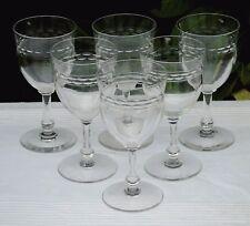 Val Saint Lambert - Service de 6 verres à vin en cristal taillé. Haut. 13,2 cm