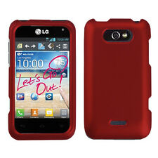 For Cricket LG Optimus Regard Rubberized HARD Snap Phone Case Red accessory