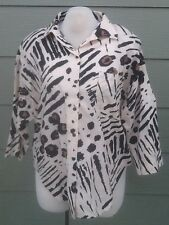 HOT STUFF Plus Size 2X 52B Shirt Blouse Animal Print Tan Black Brown 3/4 Sleeve
