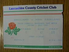 01/07/1994 Ticket: Cricket - England v New Zealand [At Old Trafford Cricket Grou
