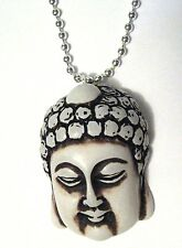 Lucky BUDDHA HEAD Pendant CHARM Silver Plated Necklace zen om ohm healing
