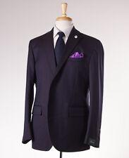 NWT $1375 BRANDO (L.B.M. 1911) Navy-Brown Herringbone Wool-Silk Suit Slim 44 R