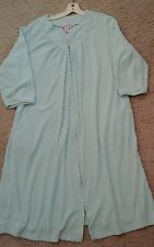 Shadowline Woman Solid Blue Knit 3/4 Sleeve Mid Calf Zip Front Robe      Size M
