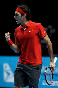 NIke Federer 2010 ATP Finals RF Victory Tennis Polo Red RARE! NEW 383048-600 L