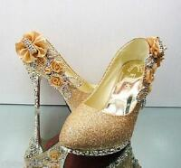 New gold beautiful Vogue lace Flowers Crystal High Heels Wedding Bridal Shoes