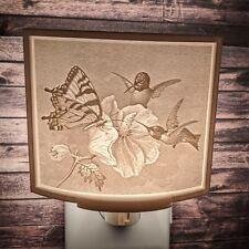Vintage Style Hummingbird Buttery Flower Lithophane Incandescent Night Light