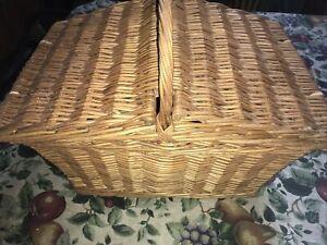 Vintage Brexton Picnic Hamper In Wicker Basket