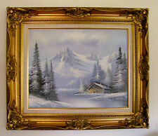 L. Bonner Landscape Cabin Mountains Painting 20 X 16 Framed and Signed-NICE!