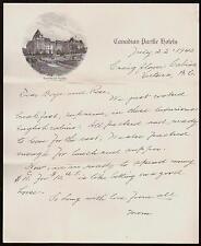 1940 Victoria British Columbia - Empress Hotel Canada Vintage Letter Head Rare