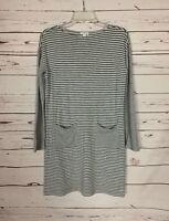 J.Jill Women's XS Extra Small Gray Striped Long Sleeve Pocket Spring Tunic Dress