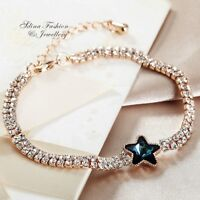 18K Rose Gold Filled Made With Swarovski Crystal Double Rows Teal Star Bracelet