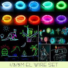 EL Wire Flexible Neon Glow Flash Strip Lights Glasses Rope Dance Party Car 1-5M