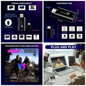 Hdmi Video Capture Card, 1080p 60fps Game Capture Card, 4K hdmi to usb 2.0, Cam