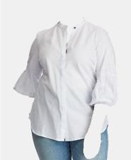 $328 Polo Ralph Lauren Women'S Blue Striped Puff Sleeve Shirt Top Blouse Size 1x