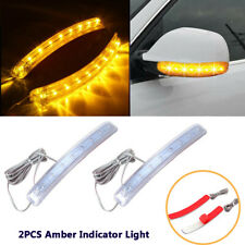 2PCS Auto Yellow Soft Turn Signal Light Strips 8 LED Side Mirror Amber Indicator