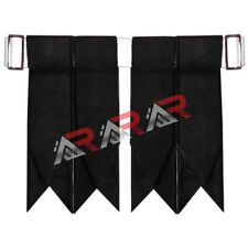 Brand New Solid Plain Black Tartan Kilt Flashes with Heavy Buckle