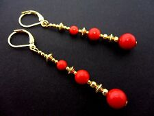 A PAIR RED CORAL BEAD GOLD TONE EXTRA LONG DANGLY LEVERBACK EARRINGS. NEW.