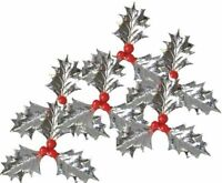 6 X LARGE SILVER PLASTIC HOLLY CHRISTMAS CAKE DECORATION / YULE LOG / CUPCAKE (S