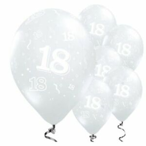 """18th Ages Clear 11"""" Latex Birthday 6pk Balloons Helium Quality"""