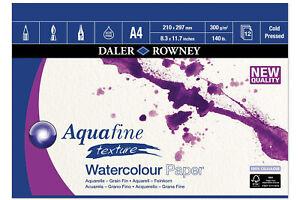 Daler Rowney Aquafine Watercolour 300gsm Gummed Pad A4 - 12 Sheets