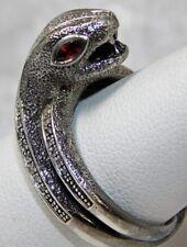 VTG CUSTOM DIAMOND GARNET SNAKE SERPENT STERLING SILVER SIGNED RING sz 9 1/2