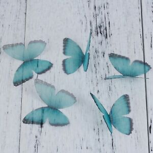 """Blue & Purple Organza Ethereal Butterfly For DIY & Craft 50mm(2"""") Long 5 PCs New"""