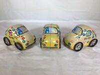 Set Of 3 M&Ms Collectible Car Tin Volkswagen Yellow Car