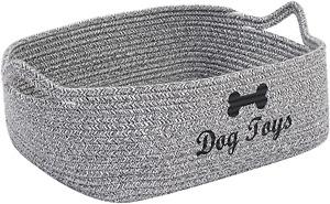 Brabtod Cotton rope dog toy basket with handle, pet toy storage basketgrey, pet
