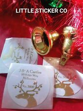 Christmas Stickers Personalised  address and names  in gold  gloss circle  x 100