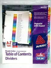 Avery Table Of Contents Dividers R1213az Amp R1213m 2 Packs Of Tabs