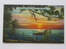 Vintage Postcard Fort Myers Florida Sunset Fishing Gulf Of Mexico FL #4486